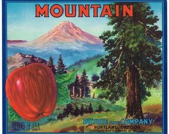 Original vintage apple crate label 1940s Mountain Portland Oregon Landscape