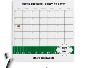 Baby Shower Calendar, Football, Sports Theme, Guess the Date, Party Sign, Baby Shower, Baby Sprinkle, Printable Digital, PDF Customized File