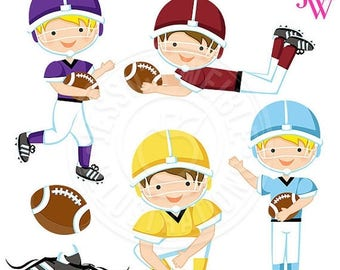 SALE Football Season Alternate Cute Digital Clipart, Boys Football Clip Art, Purple, Blue, Yellow, Burgundy Jerseys, Football Graphics, Spor