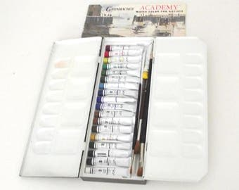 Vintage Black Metal Watercolor Tin with Grumbacher Watercolor Paint Tubes and Brushes