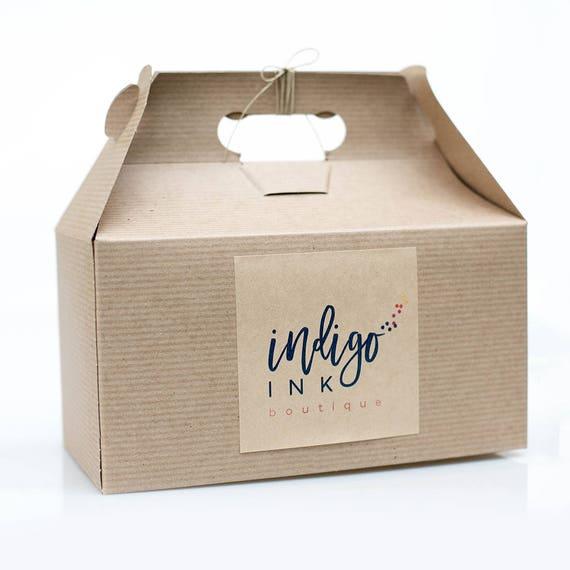 Sample Box -  9.5 x 9 x 5  Kraft Natural Gable Gift Box w/ pinstripe texture