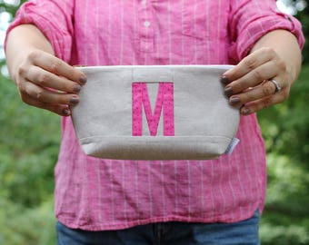Personalized Makeup Bag, Custom Pouch, Initial Bag, Monogram Travel Pouch, Initial Makeup Pouch Monogrammed Gifts for Her Under 50