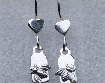 Sterling silver bee tag earrings
