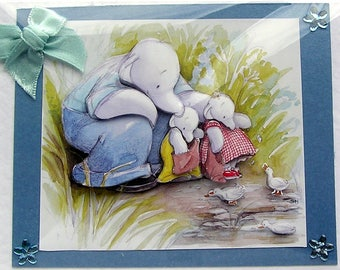 """Hand Crafted 3D Decoupage Card, Blank for any Occasion (2120) """"The Duck Pond"""" Birthday Card, Layered Card, Brother Card, New Dad Card"""