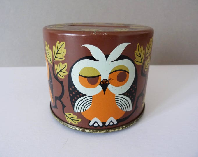 Vintage tin owl money box coin bank
