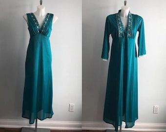 Vintage Emerald Green Peignoir Set, Queentex, 1970s Peignoir Set, Vintage Peignoir Set, Green Peingoir Set, Vintage Peignoirs, Peignoir