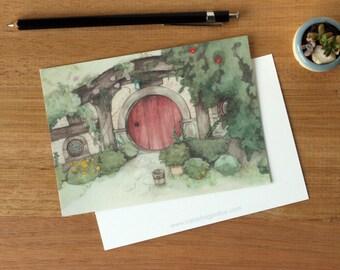 Hobbit Hole 3 - Art Postcard. Watercolour Illustration. Girls. Stationary. The Shire