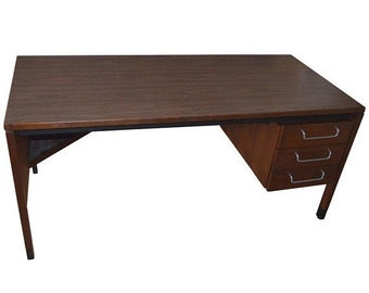 ON SALE Midcentury Walnut Desk Designed by Jens Risom