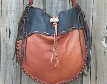 ON SALE Leather drum bag ,  Fringed leather handbag ,  Crossbody tote