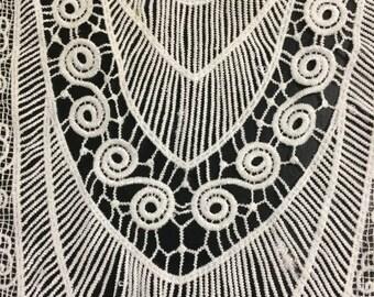 Oversized Off White Venice Applique Lace Dress Bodice Neckline Embellishment Renaissance Applique Box D ST