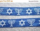 On sale 10% off 1, 4, or 10 yards Blue White Jewish Star Menorah Hanukkah Chanukah fold over headband DIY Hair Ties FOE stretch foldover fol
