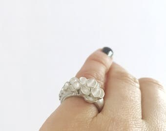 Flower  Sterling Silver  Ring, Botanical Silver Ring, Sterling Silver Ring, Statement Flower Silver Ring, Woodland Silver Ring, Floral Ring