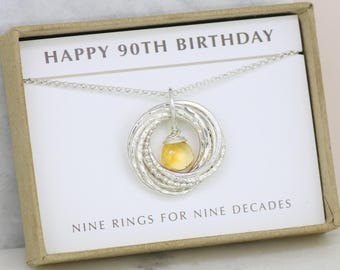 90th birthday gift for mother, November birthstone gift for grandma, citrine jewelry for 90th - Lilia