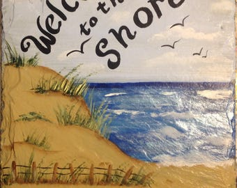 hand Painted Slate Welcome Sign, Welcome to the Beach sign,Personalized slate sign, beach slate