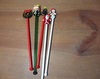 5 Christmas Holiday Glass Swizzle Sticks, Stir Sticks, Rods, Barware, Entertaining