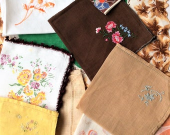 Lot of 22  Fall Colored Vintage Handkerchiefs - Browns/Tans/Oranges/Yellows