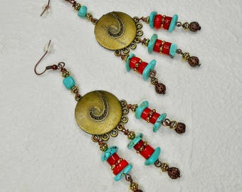 Bohemian Earrings - Statement Earrings - Dangle Drop Earrings - Chandelier Earrings - Boho Earrings - Southwest Earrings - SOUTHWEST BOHO
