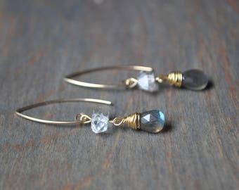 Herkimer and Labradorite Gold Dangle Earrings