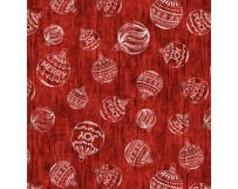 Plaid for the Holidays from Wilmington Prints - Full or Half Yard White Ornaments on Red - Christmas