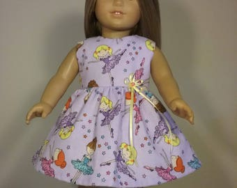 18 inch doll clothes Handmade Purple Ballerina Print Dress fits like American Girl Doll Clothes
