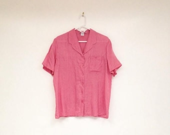 SALE Vintage 1980s Pure Silk Shimmery Pink Button Down Blouse