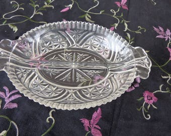 Relish Dish. Vintage Anchor Hocking Glass Rainbow Stars and Bars Oval Divided Relish Dish with Handles