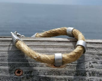 Last One Mens Hemp Bracelet Gift for Dad Pewter Surfer Surf