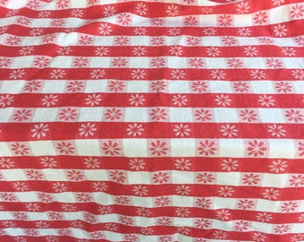 Vintage Red Gingham Tablecloth, cotton, check, red white, rectangular, 72 x 56