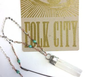 Healing Crystal Necklace with Selenite Wand Pendant and Turquoise Beads