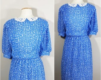 Blue and White Floral Dress with a White Lace Collar // Plus Size Floral Dress