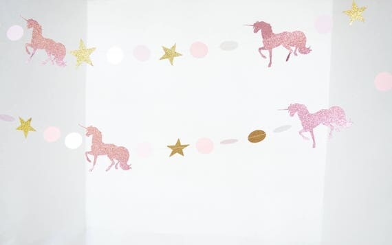 Glitter Unicorn Garland - magical prancing unicorns and stars in pink glitter, gold glitter, white and blush