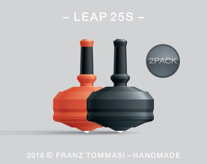 LEAP 25S 2PACK Orange-Black – Value-priced set of precision handmade spin tops with ceramic tip and integrated rubber grip