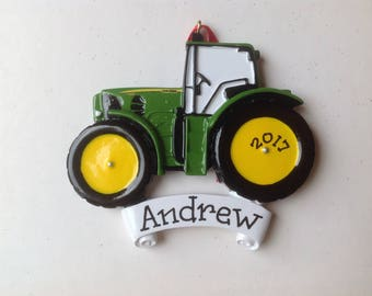 John Deere Green Tractor Personalized Christmas Ornament Truck Babys 1st ChristmasFarmer Child