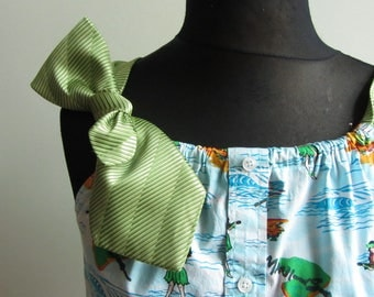 Hawaiian Tank Top Women, Upcycled Recycled Clothing, Repurposed Hawaiian Shirt, Tunic Tops, Island Vacation Beach Clothing, Hula Girl Shirt