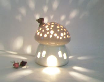 Night Light/ Fairy House - Pink Roof, Plain White House, Mushroom with Starry Sky -  - Ready to Ship - Children's Light / Nursery Light