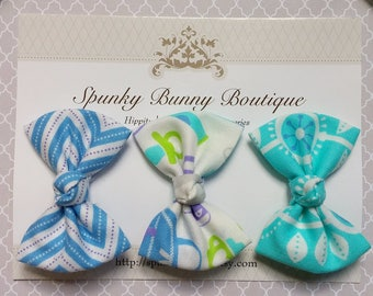 3 Blue Fabric Hair Bow Set, Baby Hair Bows, Baby Hair Barrettes, Small Hair Bow, Chevron Hair Bow, Floral Hair Bow