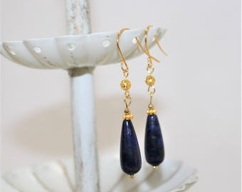 Genuine Lapis Lazuli Earrings, Gold-Plated Earwires, Civil War or Victorian Appropriate -- Affordable Elegance