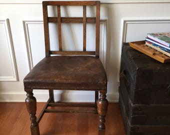 Antique Spanish Lattice Back Leather Side Chair. Accent chair. Wood dining chair. Unique Desk chair. Boudoir chair. Boho. Minimalist.