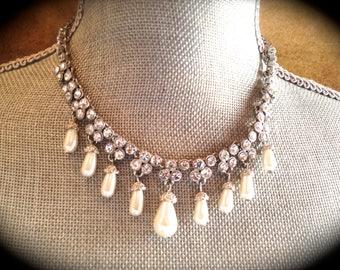Rhinestone bridal Necklace, Vintage Pearl choker necklace