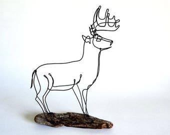 Deer Wire Sculpture, Deer Wire Art, Trophy Buck Wire Sculpture, Stag Art, 553389459