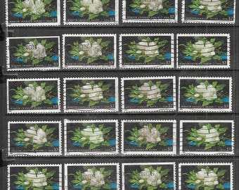25 MAGNOLIAS Used & Cancelled U.S. 37c  Postage Stamps (Giant Magnolias Artist Martin Johnson Heade painting)