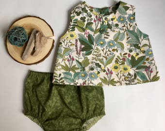 Crop Top Set // toddler girl summer top and bloomers wildflowers blue and green