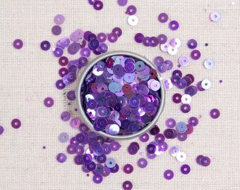 Sequins & Beads // Amethyst Iridescent Sequins, Amethyst Purple Seed Beads, 4mm Flat Loose Sequins, Sequin Appliqué, Glass Beads Size 11