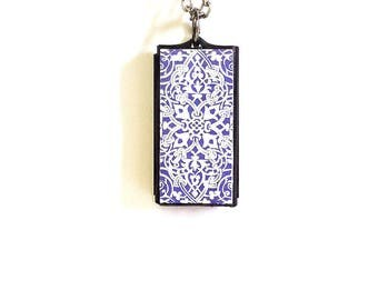 Vivofit 3 Pendant Vivofit 3 Necklace Moroccan Print Lilac Leather Pendant Vivofit 3 Pendant Moroccan style on Leather plus silvered chain