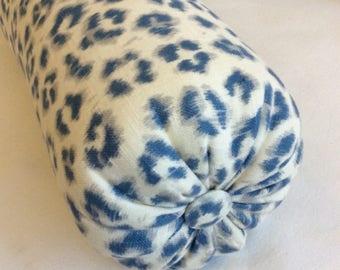 Cheetah print linen denim blue bolster lumbar pillow 6x14 6x16 6x18 6x20 6x22