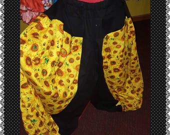 Black and Bright Yellow Sunflowers 4yd Cotton pantaloons