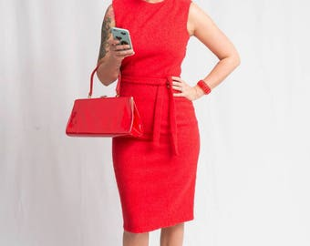 Sizzling Sirens - Vintage 1950s 1960s Red Wool Boucle Wiggle Sheath Dress - 6