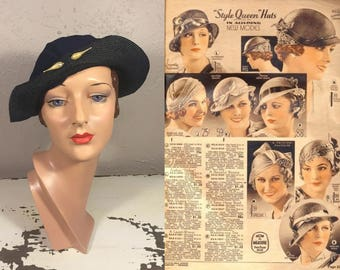 Spring With a New Hat  - Vintage 1930s Navy Blue Rayon Twist Brim Slouch Hat w/Pearl Teardrops