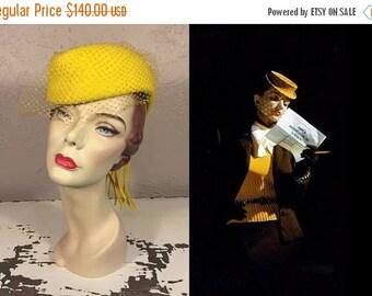 Anniversary Sale 35% Off Today's Dispatches - Vintage 1940s Sunflower Yellow Wool Felt Military Cap Hat Tilt Hat w/Veil