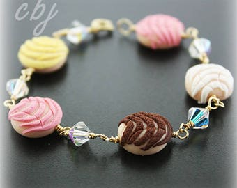 Pan Dulce Polymer Clay Bracelet, Gold Filled, Concha Bracelet, Pan Dulce Bracelet, Concha Jewelry, Pan Dulce Jewelry, Custom Made Jewelry
